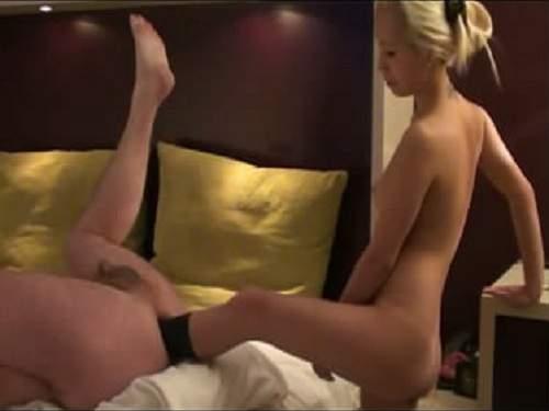 Stunning man deep anal foot penetration - femdom, foot fisting
