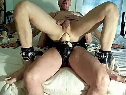 Gay extreme rides anal on a epic strap-on - amateur, long dildo