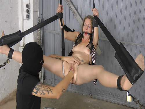 Tied girl with gag hot fisting masked male - torture, bondage