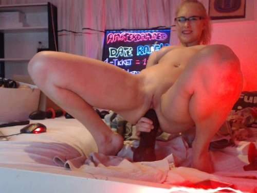 Siswet shocking dildo self penetration in ass - anal insertion, huge dildo