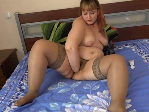 Amateur russian plump girl solo fisted her big hairy pussy - russian girl, pussy insertion