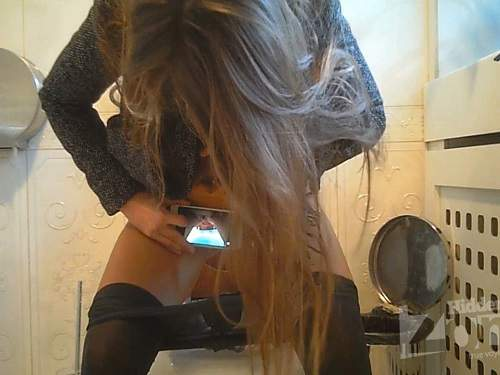 Hidden toilet cam – russian girl photo her pussy during peeing - toilet spy, peeing fetish