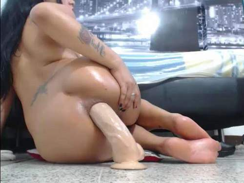 Big ass latin girl dildo penetration in ass and try fisting sex - huge dildo, dildo riding