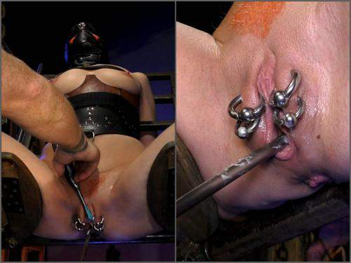 Piercing labia stretching and urethral sounding to bondage girl - anal, dildo anal