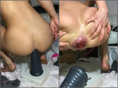 Siswet again show her wonderful anal prolapse - huge dildo, booty girl