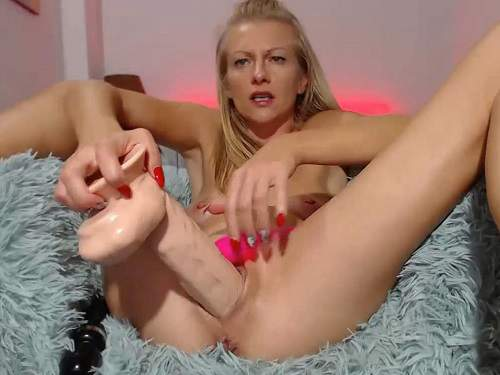 Skinny blonde squirt after dildo vaginal sex webcam show - squirting orgasm, skinny