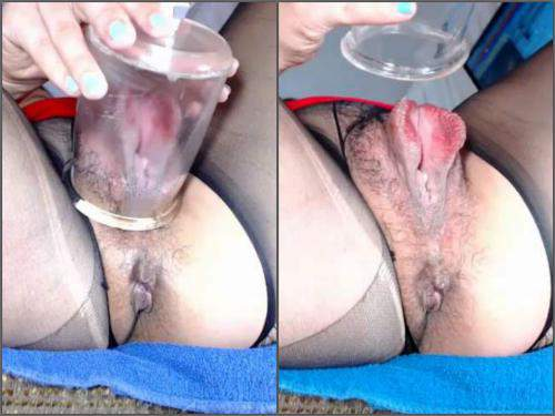 Bloody vaginal pumping with sexy skinny girl - pussypump, long dildo