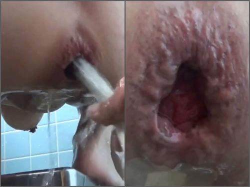 Asian busty wife water enema and giant gape loose in the bathroom - jav anal, closeup
