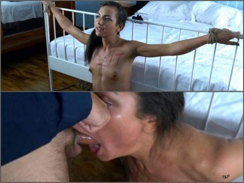 Hot bondage girl gets big cock in her deepthroat – 4k porn - bondage, vomit