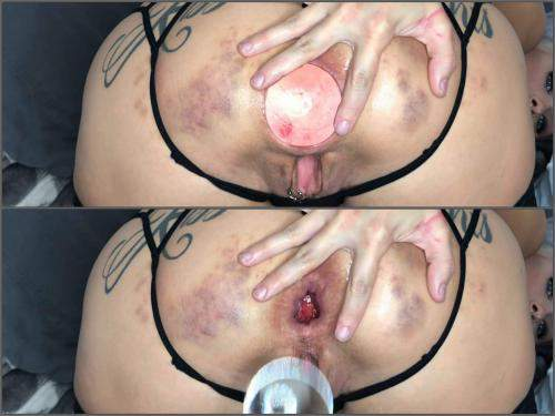 LilySkye huge glass anal plug and balls in gaping hole – gape ass ...