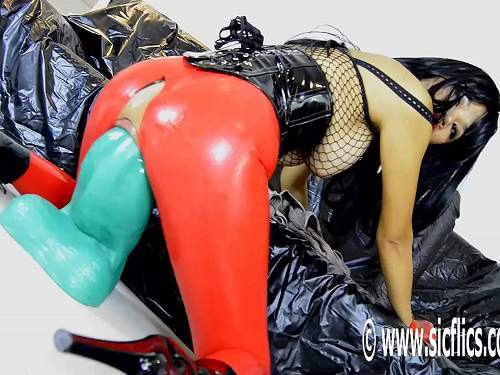 Big tits rubber girl penetration shocking bad dragon dildo deeply in pussy - busty girl, colossal dildo