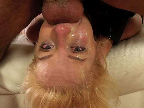 Deepthroat fuck and spit fetish with dirty blonde - amateur, gagging on dick