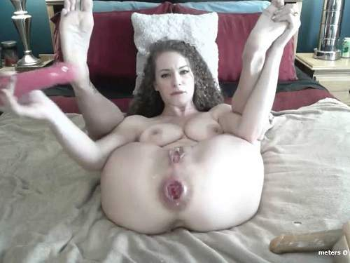 Webcam cute curly girl anal rosebutt loose with double dildos - rosebud, anal creampie