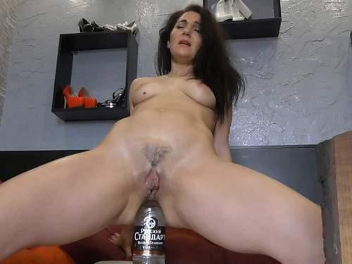 Hungarian MILF BIackAngel glass bottle in ass - closeup, hairy pussy
