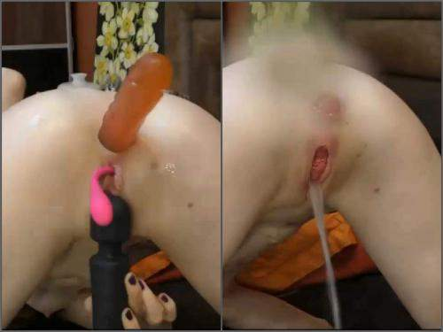 Nicolremy prolapse squirt after long dildo anal penetration - deep throat, Squirt