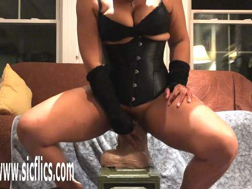 New masked pornstar self riding on a many monster toys - busty girl, mature penetration
