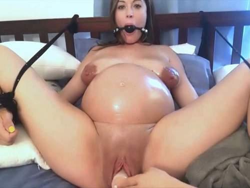Cute bondage preggo girl with saggy tits gets dildo fuck - rope bondage, saggy tits