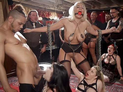 Aiden Starr, London River amd Amilia Onyx gangbang public fisting domination - bondage, deep throat
