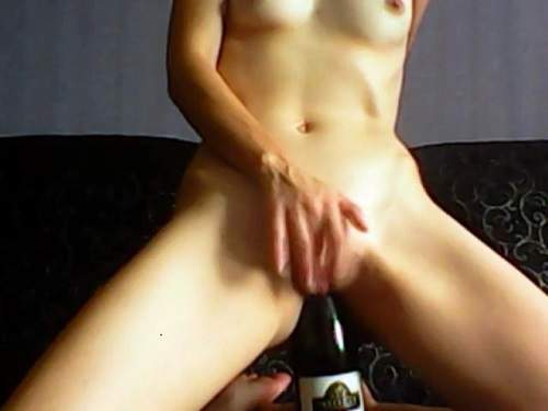 Wet pussy russian skinny wife wine bottle riding - close up, closeup