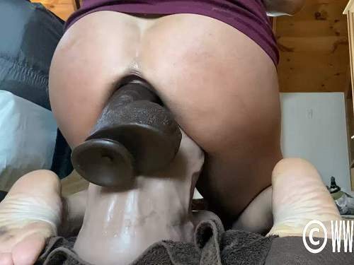 Big ass MILF penetration monster toy in ass and pussy at the moment - pussy insertion, dildo anal