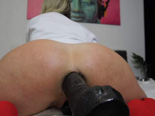 Helena Lana big black dildo deeply penetration in asshole - mature anal, huge dildo