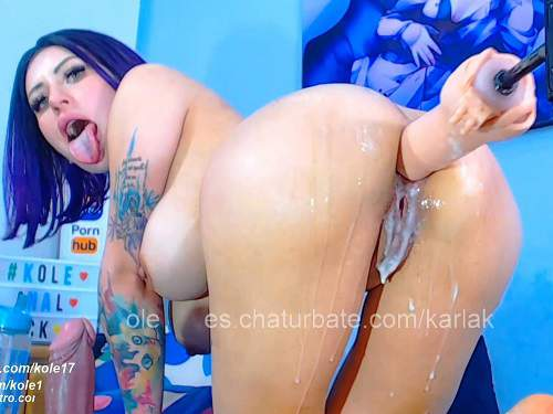 Naked bluehead teen Karlakole gets fucking machine wet anal driller - closeup, cosplay