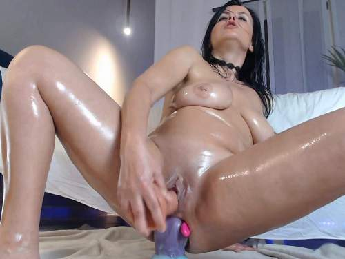 Big tits oiled body brunette double and triple dildos penetration - anal insertion, mature penetration