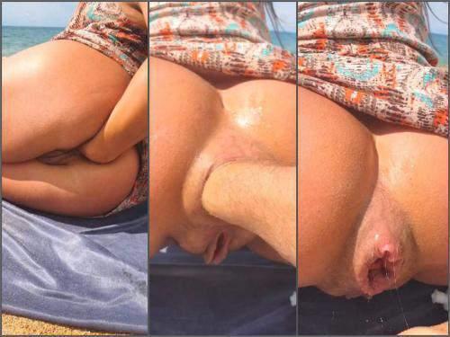 Alisiya Rainbow beach anal fisting and dildo sex on the beach - Nude Beach, squirting orgasm