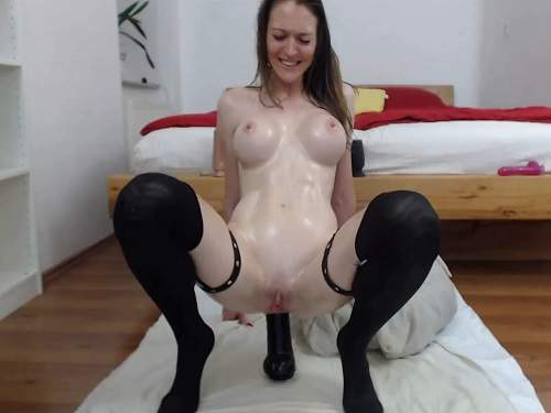 SIlicone tits camgirl herself penetration giant dildos anal and vaginal - webcam, dildo anal