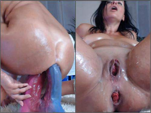 Sweet little anal prolapse show during bad dragon dildos DP - mature penetration, anal insertion