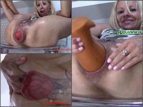 Shocking size wet anal prolapse stretching with cute blonde – Premium user Request - gaping anal, dildo porn