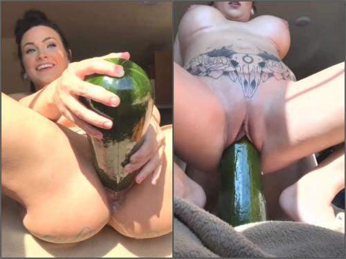Silicone tits brunette LilySkye penetration huge vegetable in ...