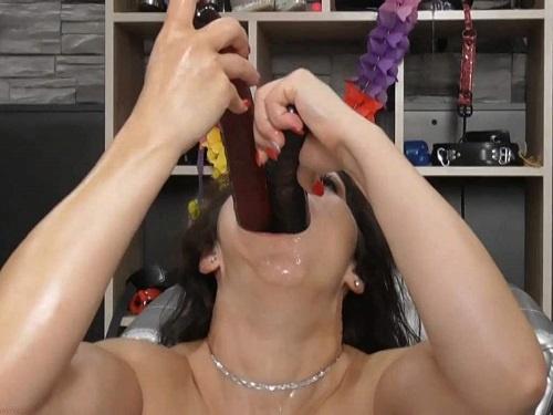 Hungarian pornstar BIackangel double dildos deepthroat fuck - double dildo, throat gaggers