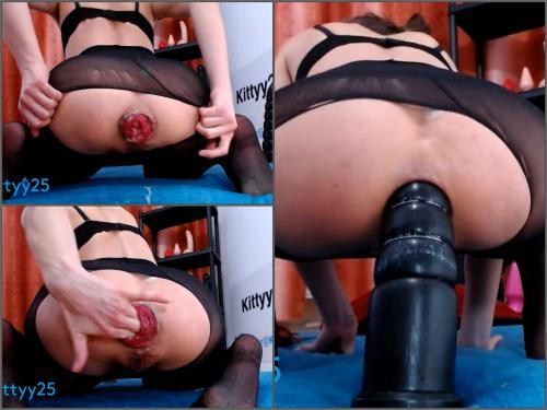 Kittyy25 dildoblack28cm anal RIDE,prolapse – Premium user Request - dildo riding, BBC dildo