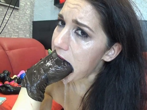 Rough deepthroat fuck with rubber dildos and rubber glove - deepthroating, fisting sex