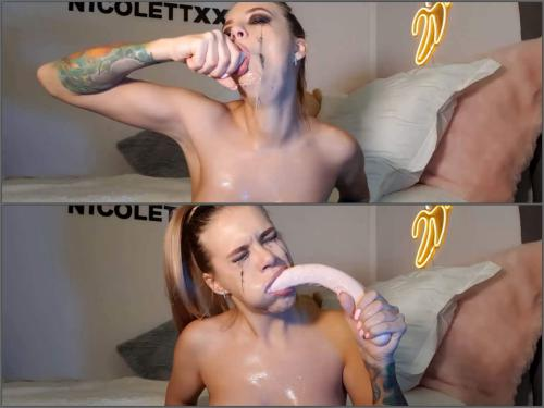 Beautiful tits NicoletteXXX penetration very long rubber toy in her really deepthroat - deep throat, throat gaggers