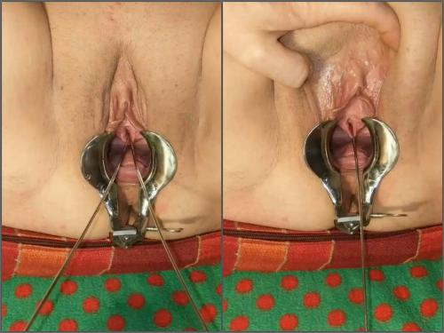 Amateur POV Urethral_play speculum porn and urethral double sounding - close up, speculum examination