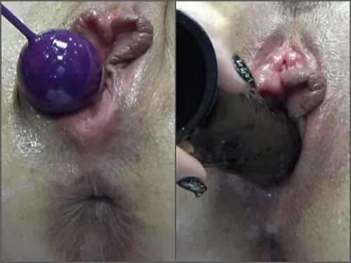 Big labia BIackangel dildo and anal beads penetration vaginal only - POV, webcam