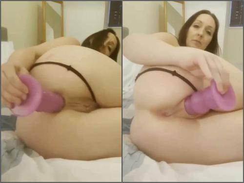 Crazy MILF penetration pink butt plug deep in pussy and asshole - anal stretching, closeup