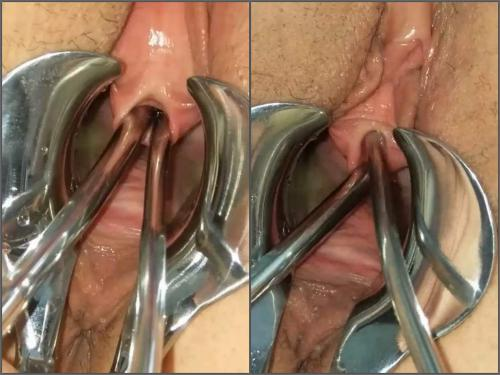 Urethral_play vaginal injection and double peehole fuck closeup - POV, urethra penetration