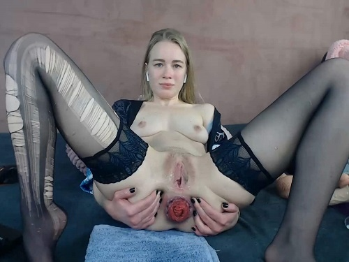 Torn pantyhose and anal prolapse fetish with JanaBellaCam - solo fisting, anal insertion