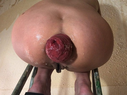 Is back! Maria Hella prolapse on the stepladder – Premium user Request - loose ass, dirty wife