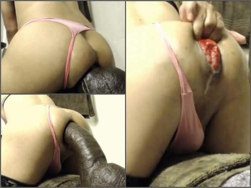 Webcam big ass shemale exciting rides on a monster brown dildo with prolapse - shemale dildo, anal stretching