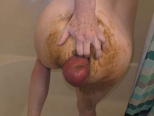 Big ass MILF pornstar fisted her shitting huge anal prolapse - smearing scat, scat
