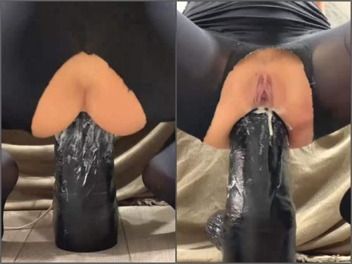 Crazywifeslut shocking big black dildo deeply rides anal only - monster dildo, closeup