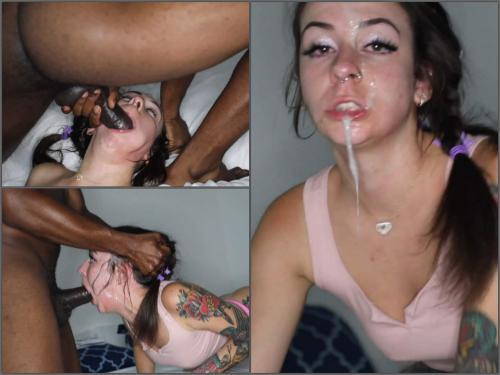 Vile Vixen Likes It Big and Vicious – rough deepthroat interracial porn - facial, interracial porn